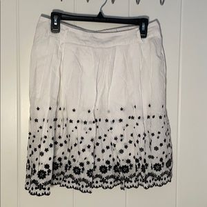 White Skirt with Black Flowers